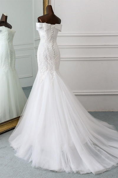 Long Mermaid Tulle Lace Off-the-Shoulder Lace-up Wedding Dress_4