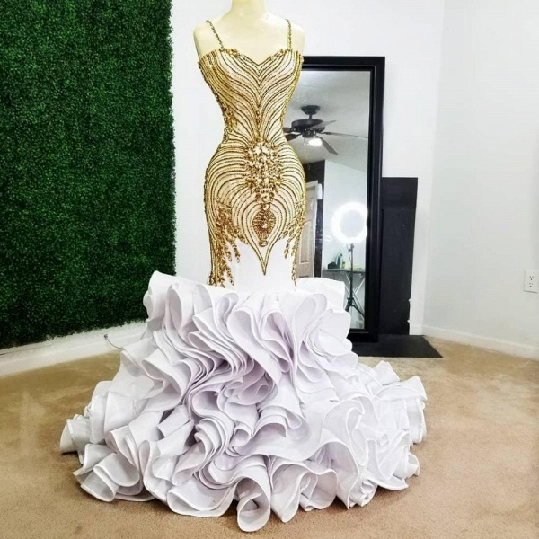 White Mermaid Gold Beading Plus Size Prom Dresses_2