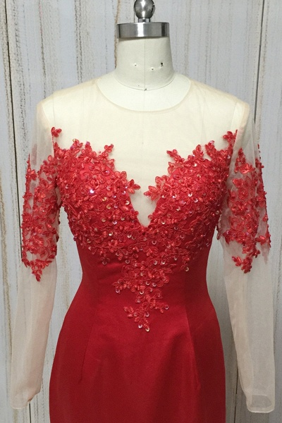 Red Satin Round Neck Long Mermaid Lace Prom Dress With Long Sleeve_3