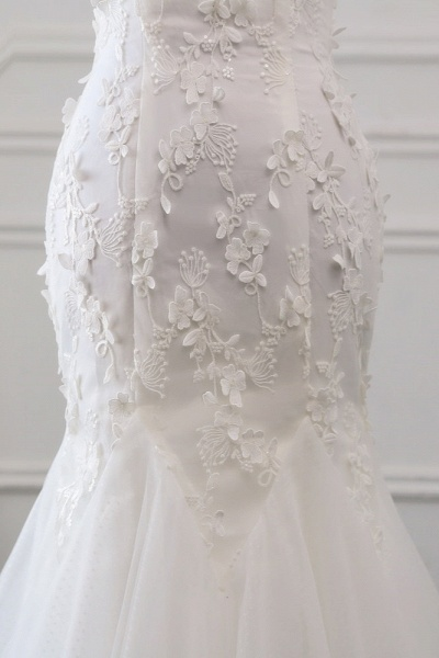 Gorgeous Long Tulle Off-the-shoulder Mermaid Lace-up Wedding Dress_6