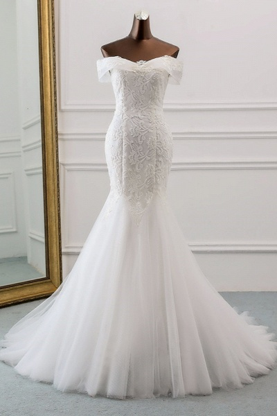 Long Mermaid Tulle Lace Off-the-Shoulder Lace-up Wedding Dress