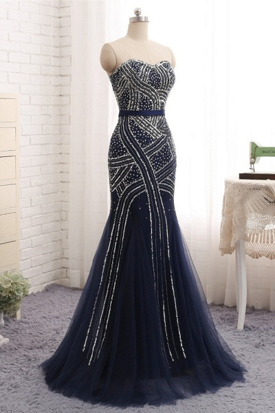 Navy Blue Tulle Sequins Strapless Long Mermaid Prom Dress_2