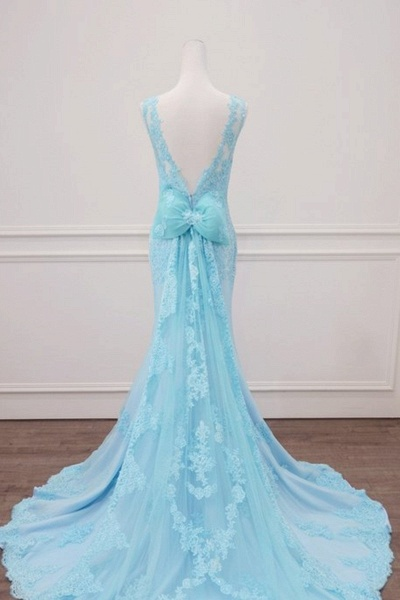 Light Blue Lace Beaded Mermaid Appliques Senior Prom Dress_3