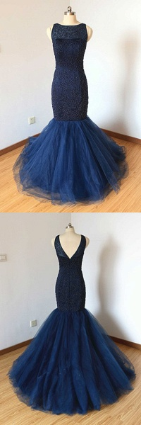 Navy Blue Tulle Long Trumpet Formal Prom Dress With Applique_3