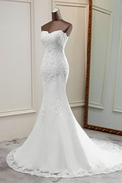 Chic Long Mermaid Strapless Lace Appliques Wedding Dress with Beadings_4