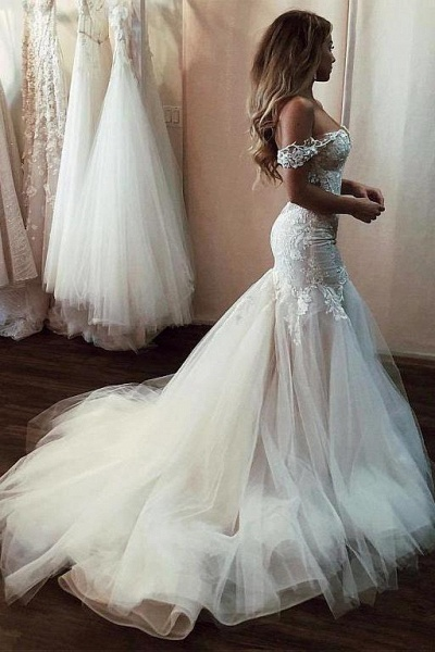 Off the Shoulder Mermaid Lace Long Tulle Wedding Dress_1