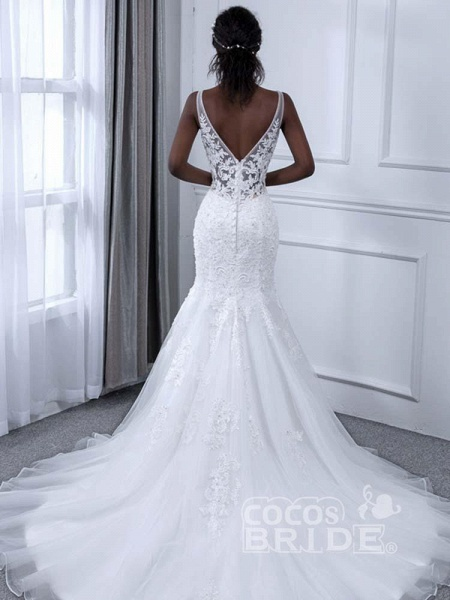 Elegant V-Neck Lace Tulle Mermaid Wedding Dresses_3