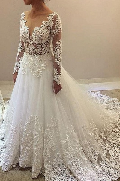 Elegant Beading Lace Long Sleeve Sheer Neck Ball Gown Wedding Dress_1