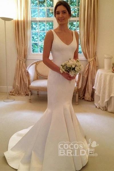 Newest Mermaid V-neck Sleeveless Simple Backless Wedding Dress_3