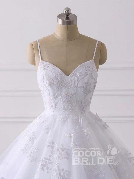 Spaghetti Straps Lace Tulle Ruffles Wedding Dresses_5