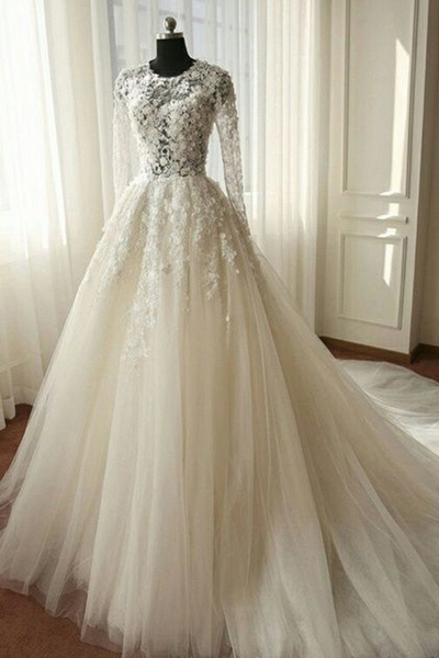 White Organza Lace Long Sleeves Wedding Dresses_1