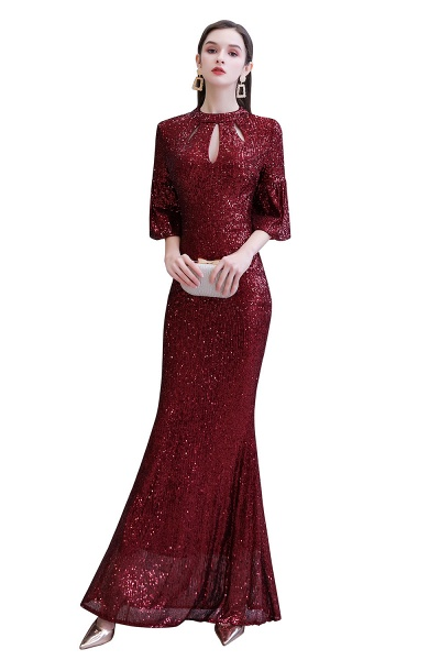 Burgundy Short Sleeve Sequins Long Prom Dress_1