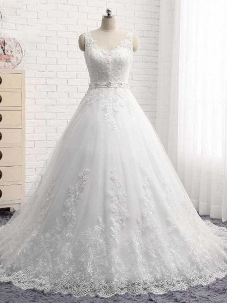 V-Neck Beaded Backless Lace A-Line Wedding Dresses_1