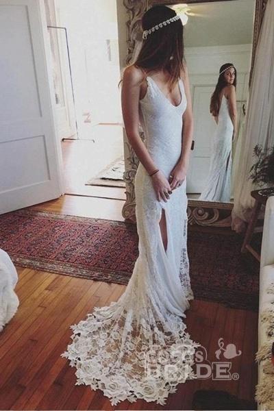 Romantic Boho Deep U Neck Backless Lace Mermaid Wedding Dress_3