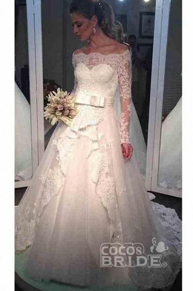 Elegant Tulle Lace Off-the-shoulder Long Sleeve Wedding Dress_2