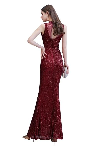 Gorgeous Mermaid Burgundy Sequins Long Prom Dress_11
