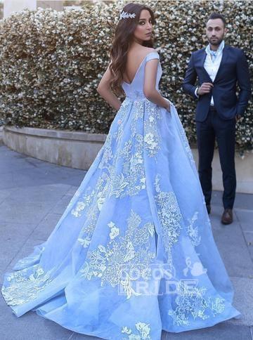 Light Blue Ball Gowns Lace Appliques Off Shoulder Big Wedding Dress_3