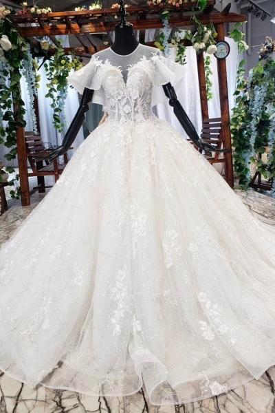 Gorgeous Ball Gown Big Princess Sleeves Wedding Dress_1