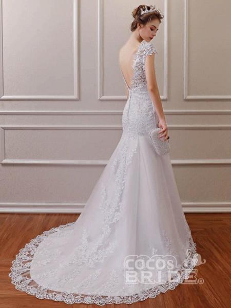 Affordable V-Neck Short Sleeves Lace Mermaid Wedding Dresses_3