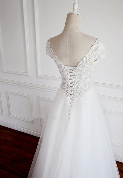 White Tulle V Neck Cap Sleeve Long Lace Wedding Dress_3
