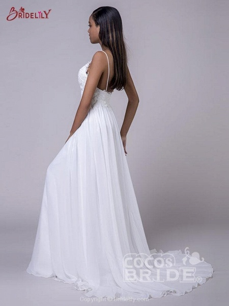 Modest Spaghetti-Strap A-Line Ruffles Wedding Dresses_4