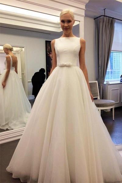 Elegant Ivory Bateau Backless Sleeveless A-line Tulle Wedding Dress_1