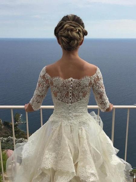 Gorgeous Design Wave Details Half Sleeve Lace Wedding Dresses_1