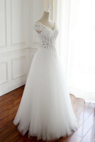 White Tulle V Neck Cap Sleeve Long Lace Wedding Dress_2