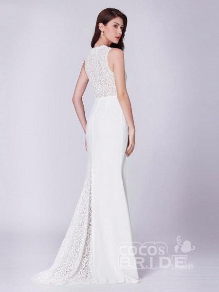 Elegant V Neck Lace Mermaid Wedding Dresses_4