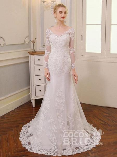 V-Neck Long Sleeves Lace Mermaid Wedding Dresses_2