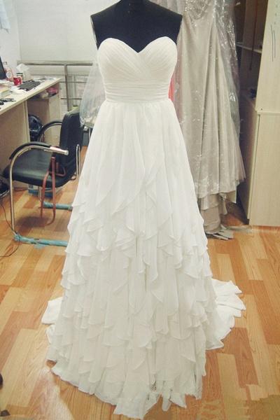 Sweetheart White Chiffon Long Ruffles Wedding Dress_1