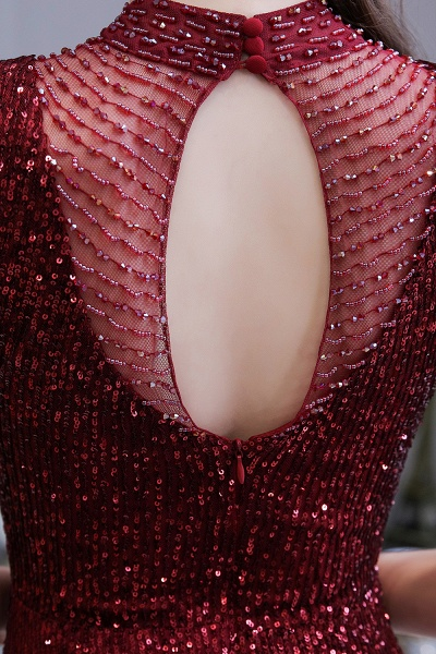 Gorgeous Mermaid Burgundy Sequins Long Prom Dress_10