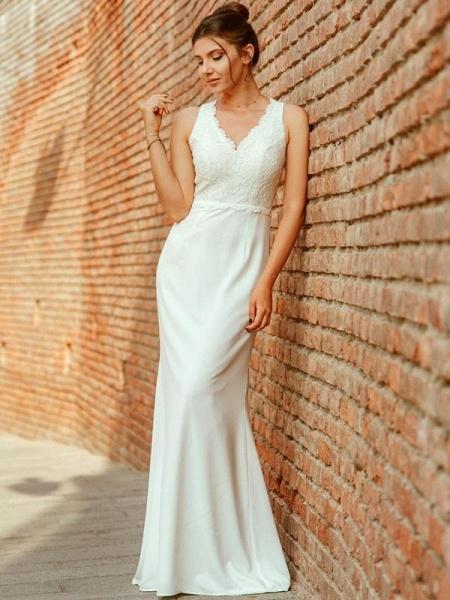 Elegant V Neck Lace Mermaid Wedding Dresses_1