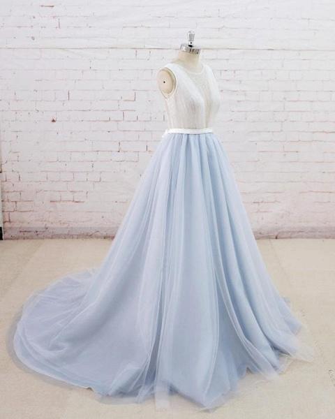 Light Blue Tulle Sheer Back Summer Lace Wedding Dress_2