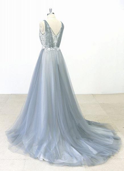 Gray Tulle Round Neck Sweep Train Beach Wedding Dress_3