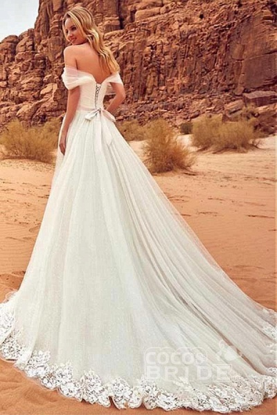 Charming Tulle Lace Boho Beach A-line Wedding Dress_2