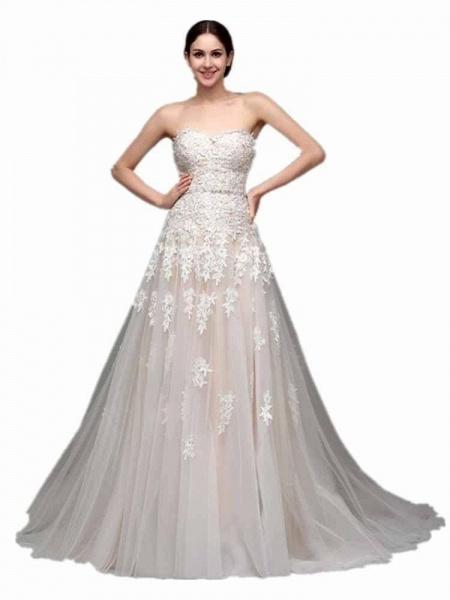 Elegant Sweetheart Beaded Lace Tulle Wedding Dresses_1