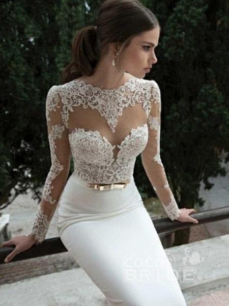 Elegant Long Sleeves Lace Mermaid Sashes Wedding Dresses_5