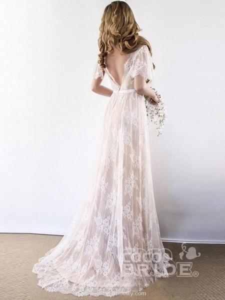 Gorgeous V-Neck Cap Sleeves Lace Wedding Dresses_5