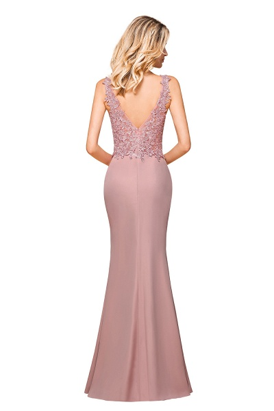 Dusty Pink Mermaid Lace Long Sleeveless Evening Gowns_8
