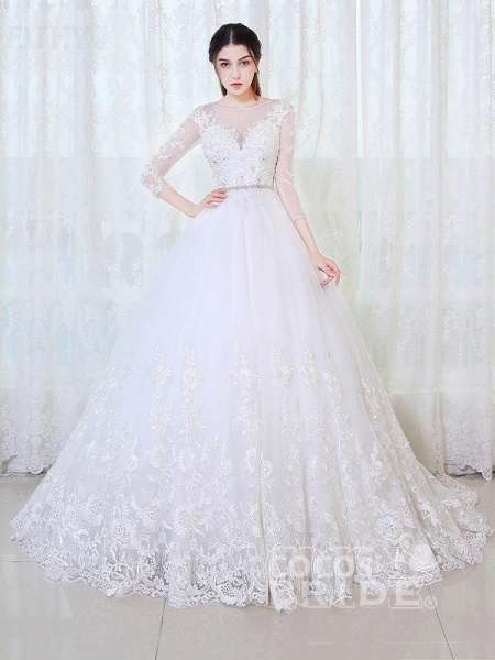 V-Neck 3/4 Sleeves Lace Ball Gown Wedding Dresses_3