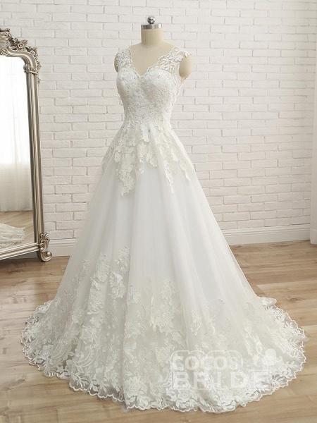 Elegant V-Neck Lace Ball Gown Wedding Dresses_2