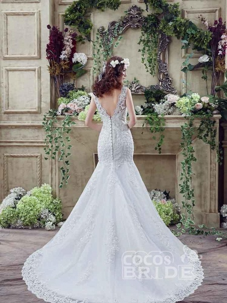 Elegant Beaded Tulle Mermaid Wedding Dresses_3