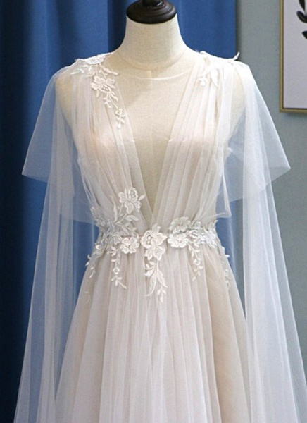 White Tulle V Neck A Line Beach Wedding Dress_3