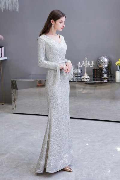 Gorgeous Sequins Long Sleeve V-Neck Mermaid Evening Gowns_8