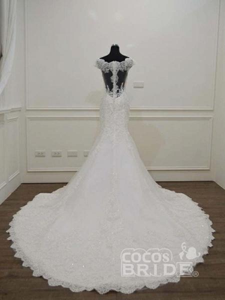 Gorgeous Bateau  Lace Mermaid Sweep Train Wedding Dresses_3