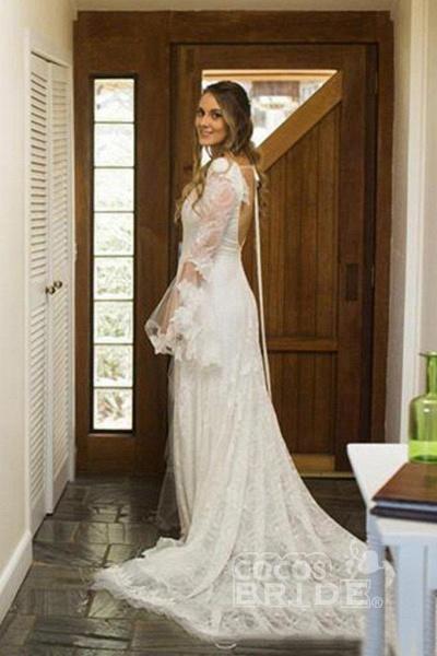 Boho V Neck Beach with Long Sleeves Unique Lace Wedding Dress_2