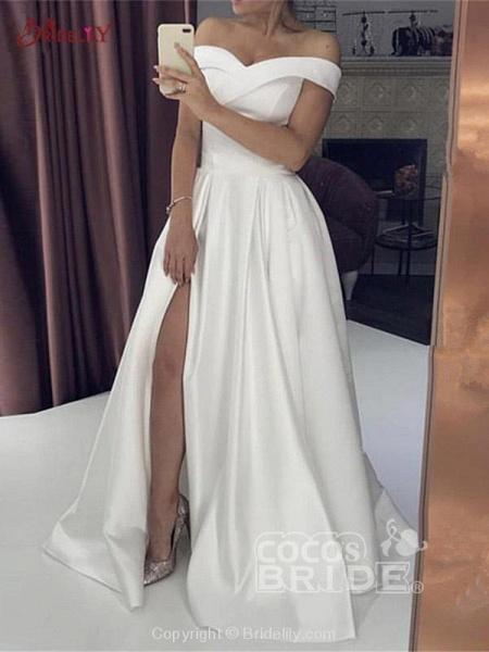 Off-the-Shoulder Backless A-Line Wedding Dresses_2