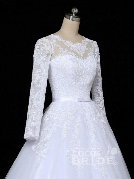 Glamorous Long Sleeves Lace Applique Tulle Wedding Dresses_4