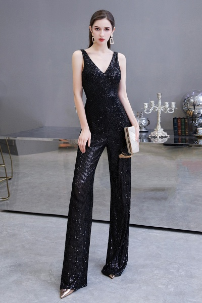 Sexy Shining V-neck Sleeveless Prom Jumpsuit with Silver Sequins_14
